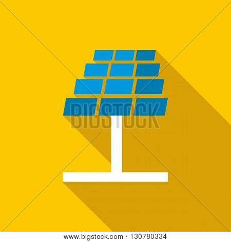 Solar panel icon in flat style with long shadow