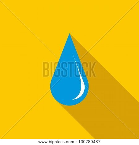 Blue shiny water drop icon in flat style with long shadow