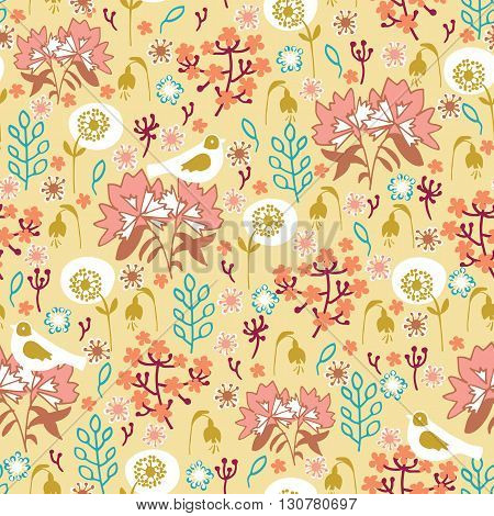 Seamless floral pattern. Flowers and birds on a bright yellow background.