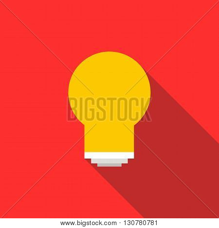 Energy saving light bulb icon in flat style with long shadow