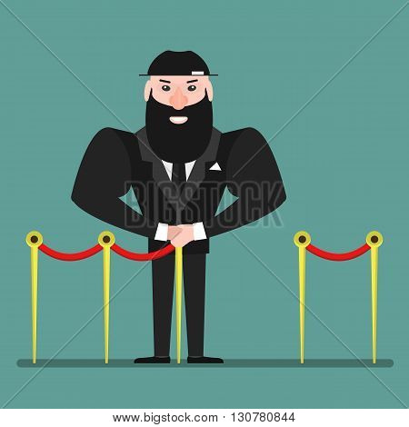 Security guard. Strong Athletic man in black clothes. Protection of property and  individual. Vector