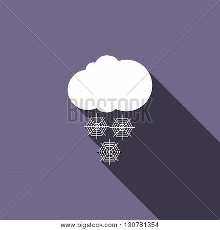 Cloud with snow icon in flat style with long shadow
