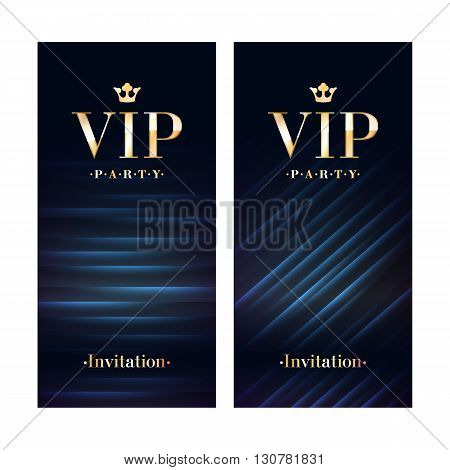 VIP club party premium invitation card poster flyer. Black and golden design template. Sequins and diagonal lines pattern decorative vector background.