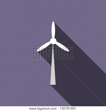 Wind turbine icon in flat style with long shadow