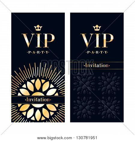 VIP club party premium invitation card poster flyer. Black and golden design template. Floral decorative vector background.