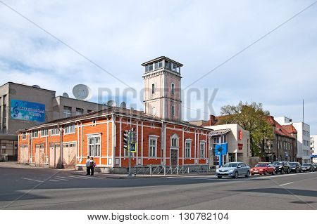 SORTAVALA, KARELIA, RUSSIA - MAY 14, 2016: Old fire station with fire-observation tower. Was built in 1888