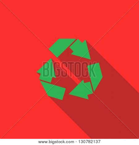 Recycle simbol icon in flat style with long shadow
