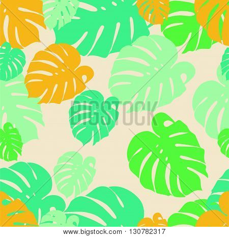 seamless pattern Tropical leaf yellow and green monstera