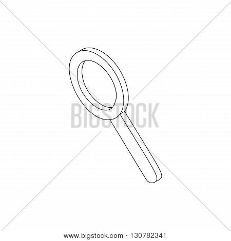 Magnifying glass icon in isometric 3d style on a white background