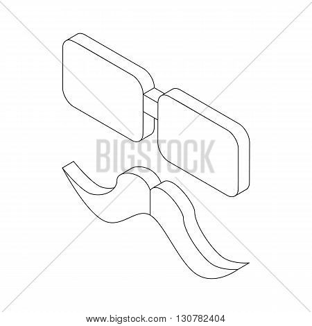 Glasses and mustache icon in isometric 3d style on a white background