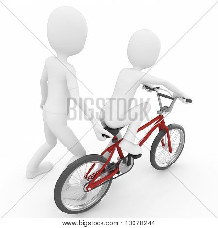 3D Man Helping Child Learning To Bike