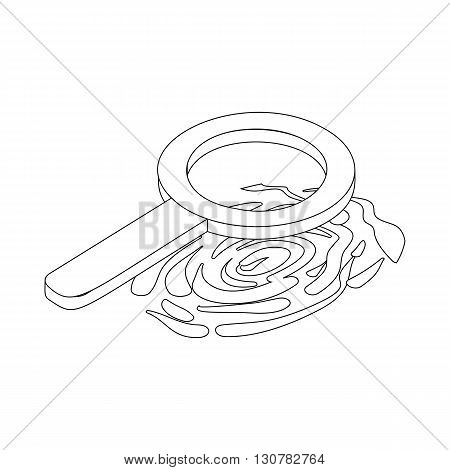 Fingerprint and magnifying glass icon in isometric 3d style on a white background