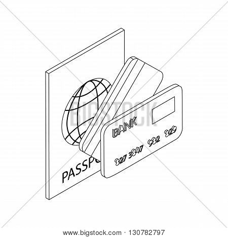 Passport and bank cards icon in isometric 3d style on a white background