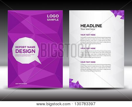 Purple Cover Annual report template brochure flyer leaflet booklet poster polygon background