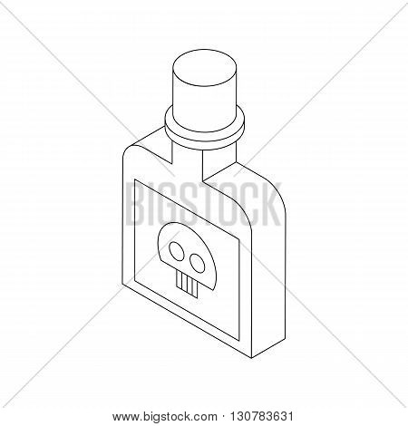 Bottle with poison icon in isometric 3d style on a white background