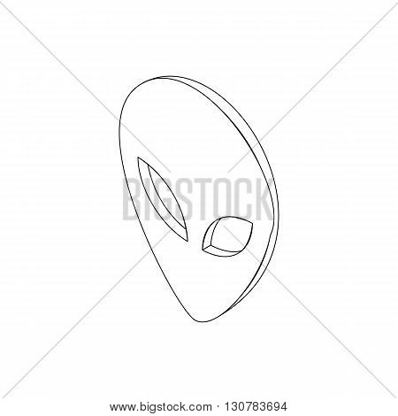 Alien head icon in isometric 3d style on a white background