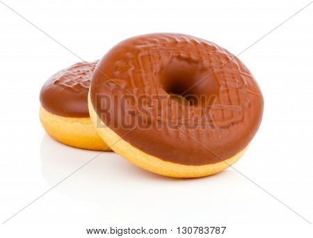 two delicious chocolate donuts on white background