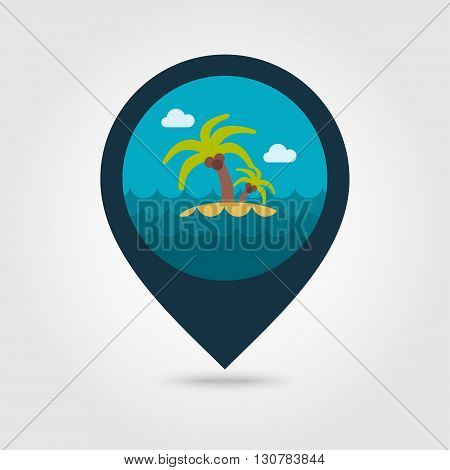 Island with palm trees vector pin map icon. Beach Map pointer. Summer Map markers. Summertime. Vacation eps 10