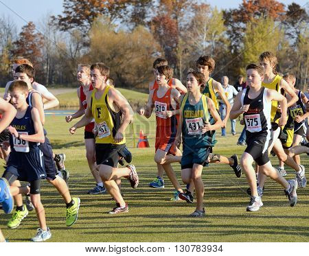 ST. FRANCIS MN - OCTOBER 16 2012: Boys High School Cross Country Meet With Numerous Minnesota Teams Participating.