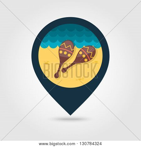 Maracas vector pin map icon. Beach Map pointer. Summer Map markers. Summertime. Vacation eps 10