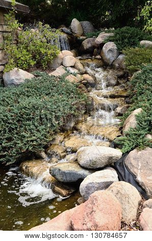 Waterfall Feature and Landscaping at a Residential Home