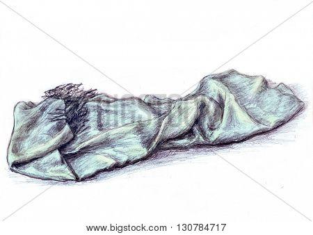 Blue scarf - hand draw color pencils illustration