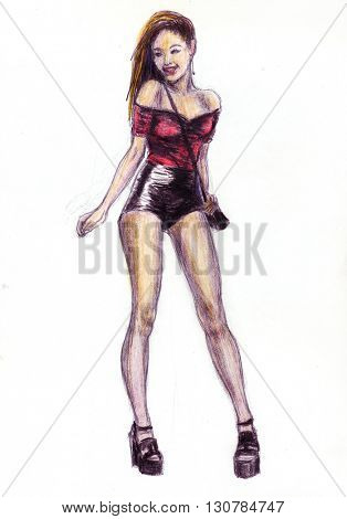 Girl in party shorts - hand draw color pencils illustration
