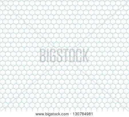 Cyan hexagon grid on white seamless pattern