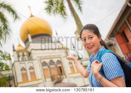 Happy Asia Woman Travel In Singapore, Masjid Sultan