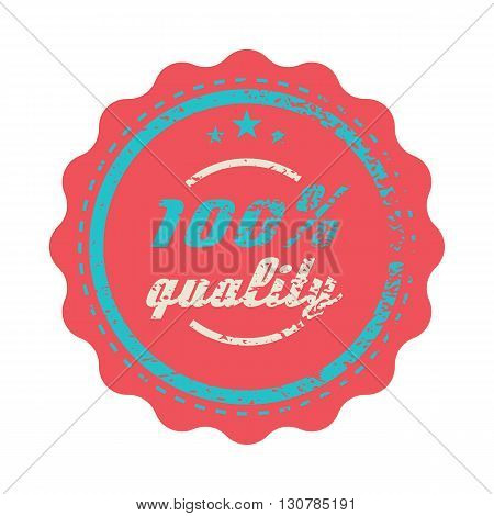 Red 100 percent quality label in vintage style on a white background
