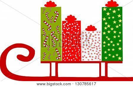 Рождественский фон для покупок. Коробки с подарками в саня