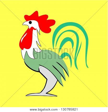 Rooster cartoon color painted on a yellow background vector. Rooster vector. Rooster cartoon vector.