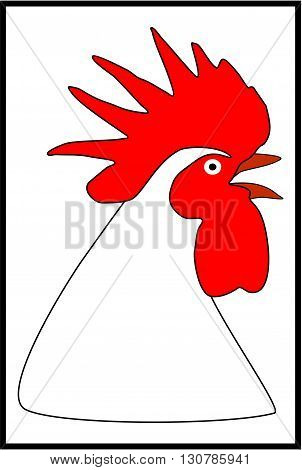 Head rooster white-black-red.Rooster vector illustration. Cartoon rooster. Rooster vector. Rooster poster. Rooster vector illustration. Rooster for advertising. For packing chicken. Rooster logo.
