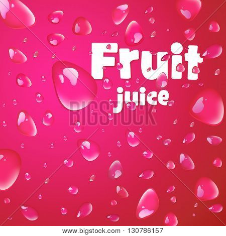 Cherry juice fruit drops on drink background. Vector illustration.