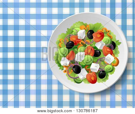 Greek vegetable salad with fresh tasty tomatoes feta cheese black olives cucumbers peppers basil oregano and parsley on white plate on blue-white tablecloth. Top view close up colour vector gradient illustration.