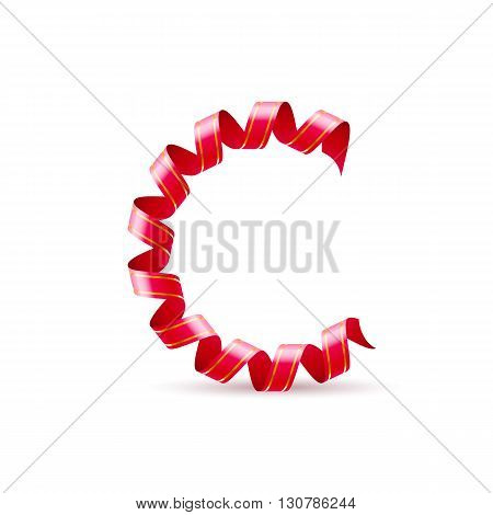 Letter C made of red curled shiny ribbon