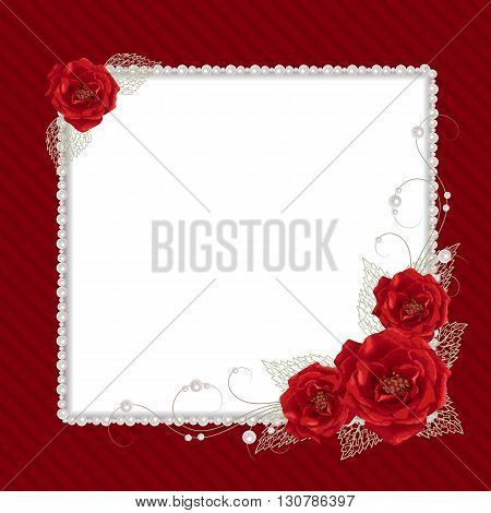 Beautiful square frame with red roses and pearls on striped background for greeting card or invitation design.