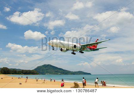 PHUKET - MAY 5 : Nordwind airlines airplane landing at Phuket International airport runway near the beach on May 5 2016 Phuket Thailand.