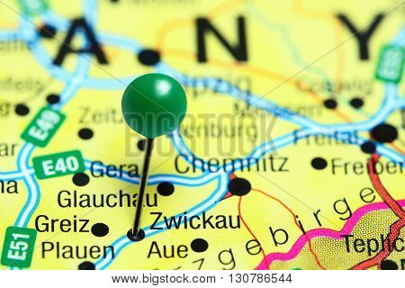 Zwickau pinned on a map of Germany