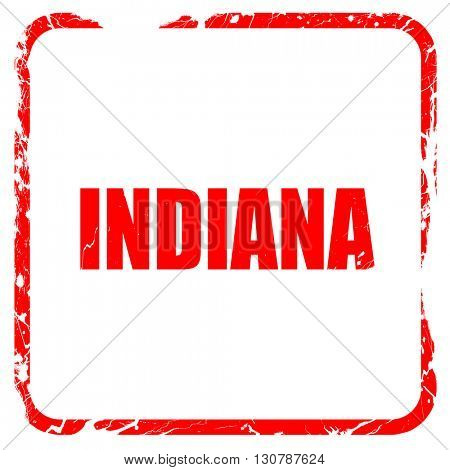indiana, red rubber stamp with grunge edges