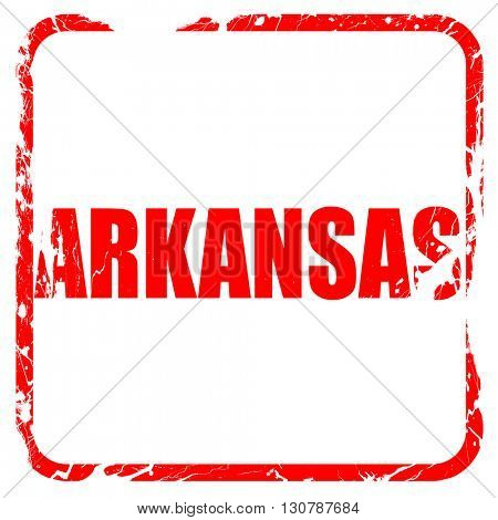 arkansas, red rubber stamp with grunge edges