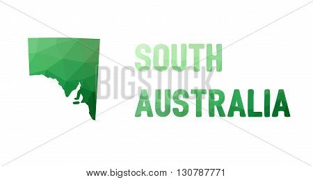 Green Polygonal Mosaic Map Of South Australia, Sa - Political Part Of Australia