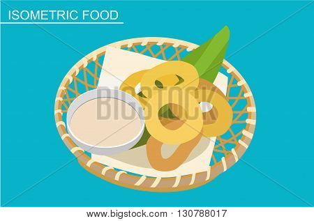 Isometric sushi set. Japanese seafood vector. Asian restaurant food. Flat illustration. Fried rings of squid with sauce. Isometric food