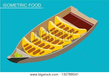 Isometric sushi set. Japanese seafood vector. Asian restaurant food. Flat illustration. Fried tortillas with soy sauce and wasabi. Isometric food