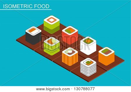 Isometric sushi set. Japanese seafood vector. Asian restaurant food on table flat