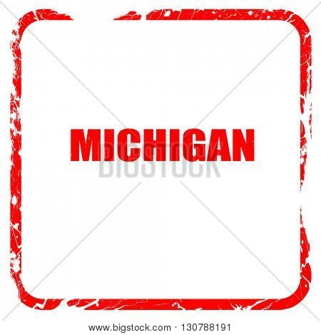 michigan, red rubber stamp with grunge edges