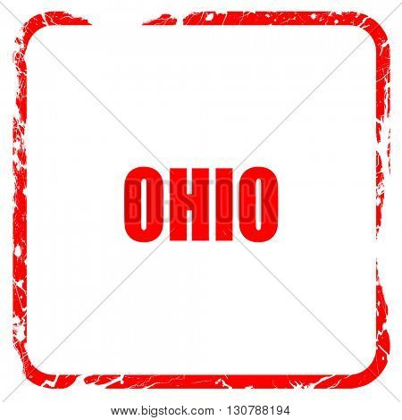 ohio, red rubber stamp with grunge edges