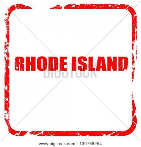 rhode island, red rubber stamp with grunge edges