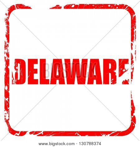 delaware, red rubber stamp with grunge edges