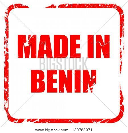 Made in benin, red rubber stamp with grunge edges
